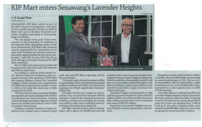 The Edge-Kip Mart enters Senawang's Lavender Heights